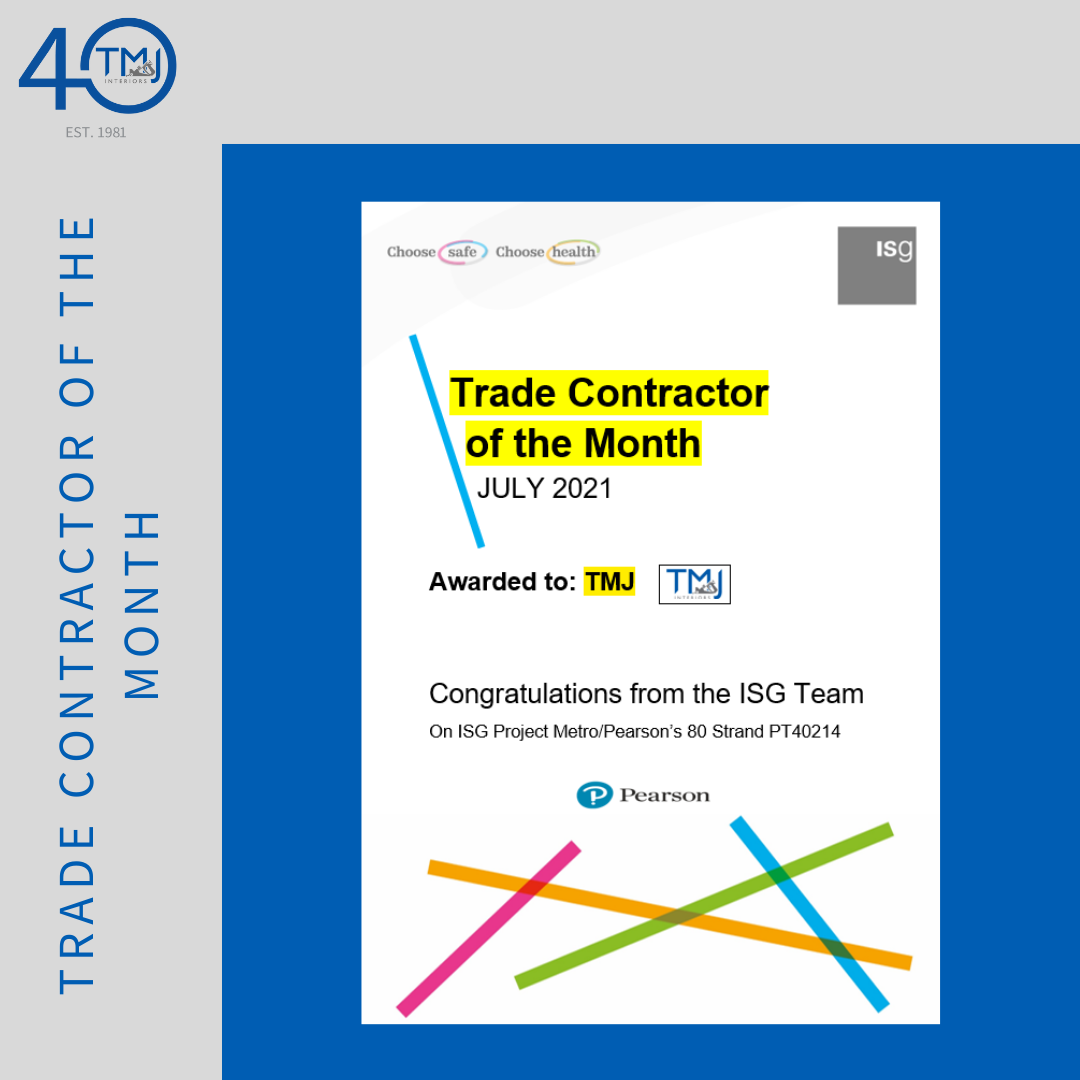 Trade contractor of the month congratulations